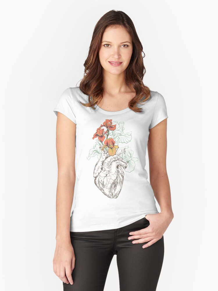 Drawing human heart with flowers womens fitted scoop t shirt by drawing human heart with flowers womens fitted scoop t shirt by olgaberlet redbubble mightylinksfo