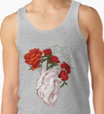 drawing Human heart with flowers Tank Top