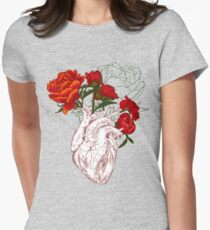 drawing Human heart with flowers Women's Fitted T-Shirt