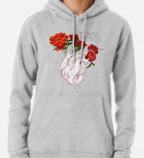 Zeichnen Menschliches Herz mit Blumen Hoodie
