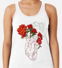 Zeichnen Menschliches Herz mit Blumen Racerback Tank Top