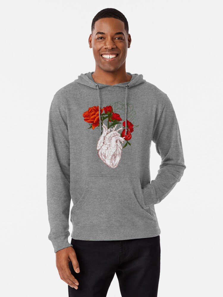 d2ae8c739 drawing Human heart with flowers Lightweight Hoodie. Designed by OlgaBerlet
