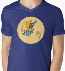 Deal With It Illustration Mens V-Neck T-Shirt