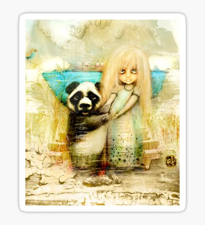 Panda and Snowdrop Sticker