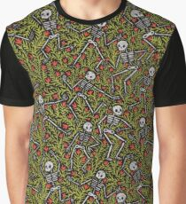 Dancing Skeletons Pattern Graphic T-Shirt