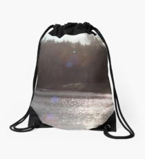 view across Trojan pond, near Goble, Oregon with flare Drawstring Bag