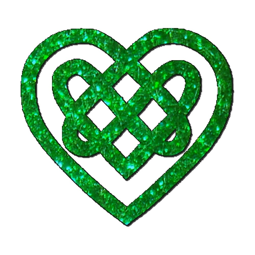 Green Glitter Celtic Knot Heart Pattern by HavenDesign