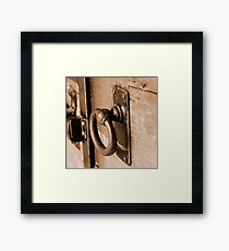 Rustic Antique Door Handle Pull and Latch Sepia                                   Framed Print