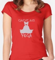 Canine And Yoga To Stay Healthy Women's Fitted Scoop T-Shirt
