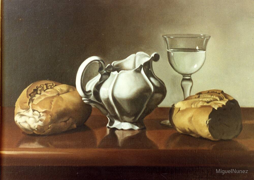 colour ,realism ,oil, oleo , art ,fine art , artwork ,painting ,paint ,wall paint ,bread , ceramic , white ,realism , by MiguelNunez