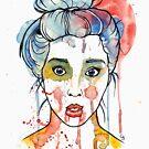 watercolour girl front bun by Ghost drop