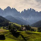 Val di Funes in Morning Lights by Béla Török