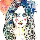 watercolour girl longhair by Chris Stokes