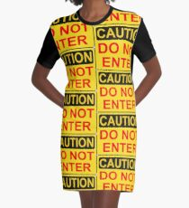 CAUTION: Do not enter red Graphic T-Shirt Dress