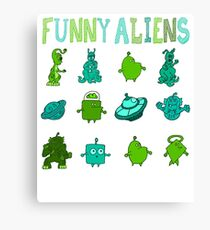 Kid-Drawn Funny Aliens Kids Canvas Print