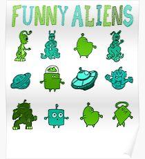 Kid-Drawn Funny Aliens Kids Poster