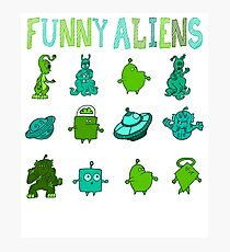 Kid-Drawn Funny Aliens Kids Photographic Print