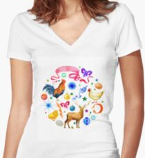 Watercolor set of Christmas symbols Women's Fitted V-Neck T-Shirt