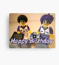Happy Birthday Greeting Card DJ Clubbing Tru & his Dad Disco Stu (with CD and Record) Minifigs Metal Print