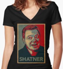 SHATNER Women's Fitted V-Neck T-Shirt