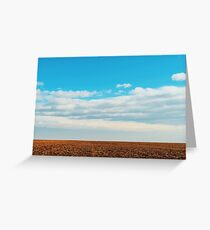 Cloudy Sky Over Harvested Land In Autumn Greeting Card