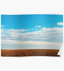 Cloudy Sky Over Harvested Land In Autumn Poster