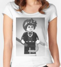 Evil Magician Custom Minifigure with Magic Wand & Snake Women's Fitted Scoop T-Shirt