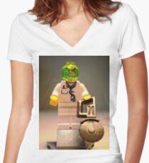 Doctor Toxic Custom Minifigure  Women's Fitted V-Neck T-Shirt