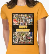Happy Birthday Greeting Card, Montage of Custom Minifigs Women's Fitted T-Shirt