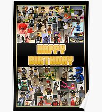 Happy Birthday Greeting Card, Montage of Custom Minifigs Poster