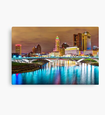 Buckeye Skyline - Columbus at Night on the Water Canvas Print