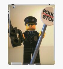 Classic Police Patrol Man Minifigure with Police Stop Sign iPad Case/Skin