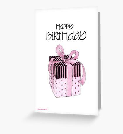 Pink & Black Gift Birthday Greeting Card