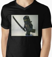 Black Ninja Custom Minifigure Men's V-Neck T-Shirt