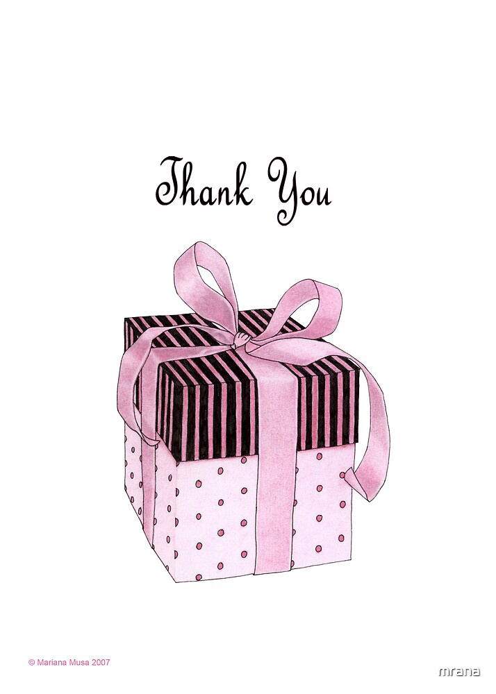 Pink & Black Gift Thank You by Mariana Musa