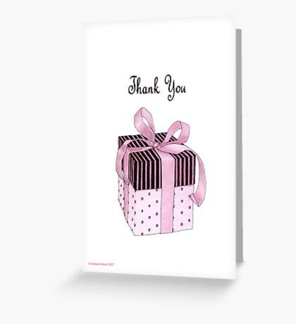 Pink & Black Gift Thank You Greeting Card