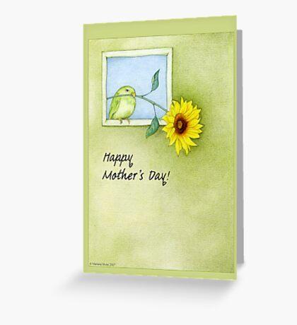 Sunflower Bird Mother's Day Greeting Card