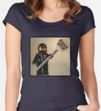 Classic Police Motorcycle Man Cop Minifigure & Police Stop Sign Women's Fitted Scoop T-Shirt