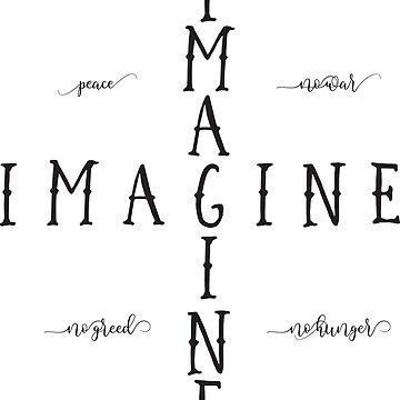 Imagine - Music Inspired Rock Lyrics Typography Quote Design by Sago-Design