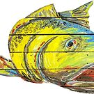 Red Fish Rainbow Trout Surrealist Fish by Statepallets