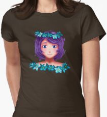 Girl with lilac hair Womens Fitted T-Shirt