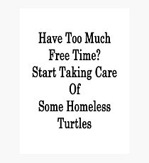 Have Too Much Free Time? Start Taking Care Of Some Homeless Turtles  Photographic Print