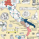 Illustrated Italy Foodie Map by yaansoon