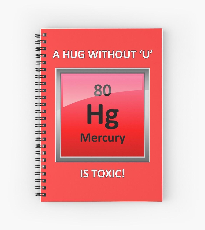 Toxic Hugs Mercury Element Symbol Spiral Notebooks By