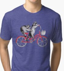 Cycling raccoons  Tri-blend T-Shirt