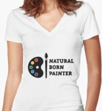 Natural Born Painter Women's Fitted V-Neck T-Shirt