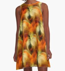 Orange And Cream Abstract Fantasy A-Line Dress