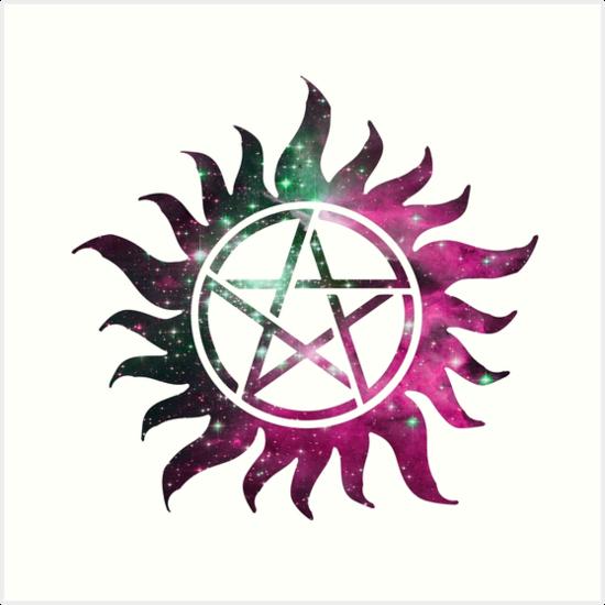 Supernatural Anti Possession Tattoo Pink Galaxy Art Prints By