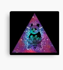 Black Panda in watercolor space background Canvas Print