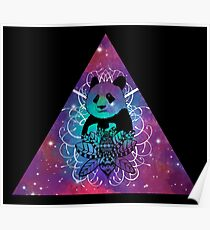 Black Panda in watercolor space background Poster